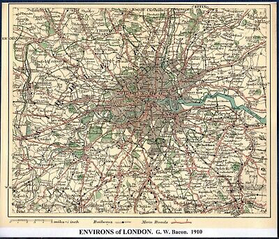 Antique Map ~ LONDON & ENVIRONS ~ G. W. BACON 1910