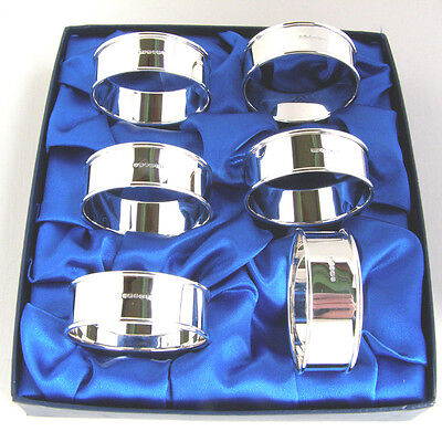 Six Silver Napkin Rings. Boxed Set Of 6 Hallmarked Silver Serviette Rings