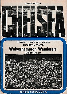 Football Programme>CHELSEA v WOLVES Mar 1973