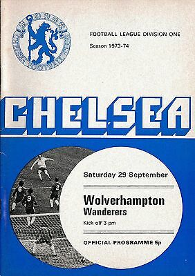 Football Programme>CHELSEA v WOLVES Sept 1973