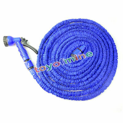 US Latex 25 50 75 100 FT Expanding Flexible Garden Water Hose with Spray Nozzle