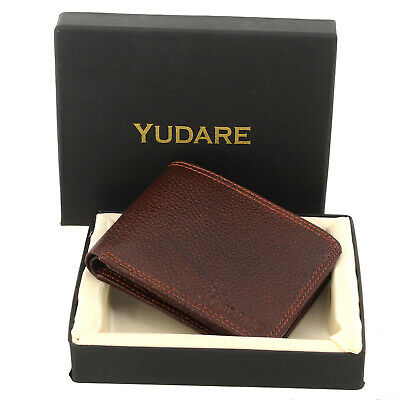 2c3cae173331 Men Genuine Leather Wallet Bi-fold Slim Cowboy Brown Coins Credit Card  Holder
