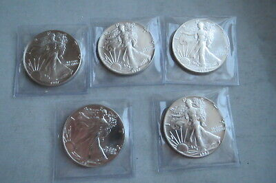 Lot of 5 Better Date 1987 American Silver Eagle 1 Troy Oz .999 Fine Silver Unc