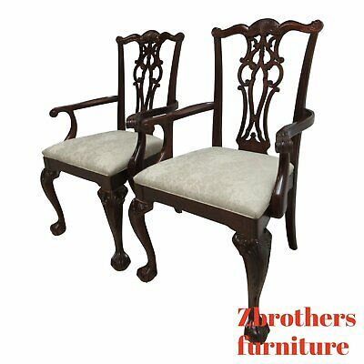 Pair Ethan Allen Chauncey Mahogany Dining Room Arm Chairs