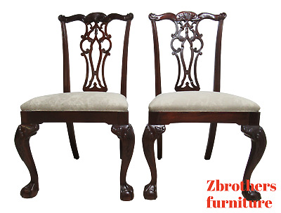 Pair Ethan Allen Chippendale  Mahogany Dining Room Side Chairs B