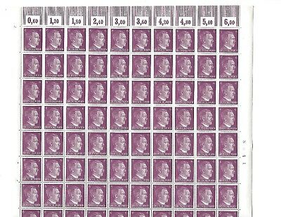 Complete 1941 stamp sheet / Adolph Hitler PF06 / Third Reich / 100 MNH stamps