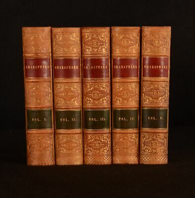 1852 5vol The Complete Works of Shakespeare William Hazlitt Fine Binding