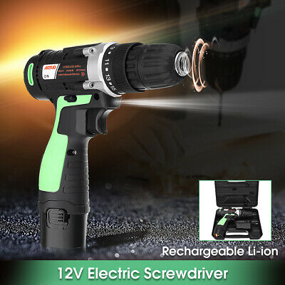 Rechargeable 12V Cordless Electric Drill Screwdriver 10mm Power Tool With