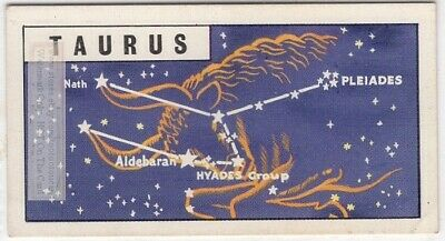 Tuarus Constellation  Zodiac Bull Sign Astrology Vintage Trade Ad Card