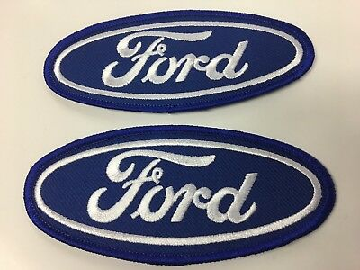 "LOT OF 2 NEW 4 1/2"" x 1 7/8"" FORD MOTOR COMPANY CLASSIC OVAL EMBROIDERED PATCHES"