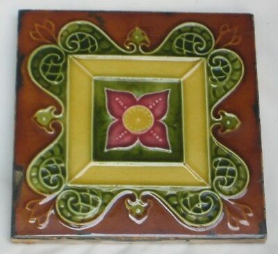 Charming Colourful Majolica English Tile Art Nouveau Design