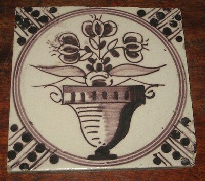 Antique Delft Manganese Tile Painted Flower In Cachepot +