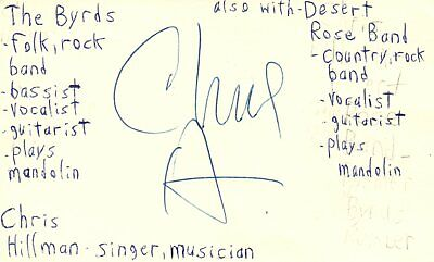 Chris Hillman Singer Musician The Byrds Rock Band Signed Index Card JSA COA