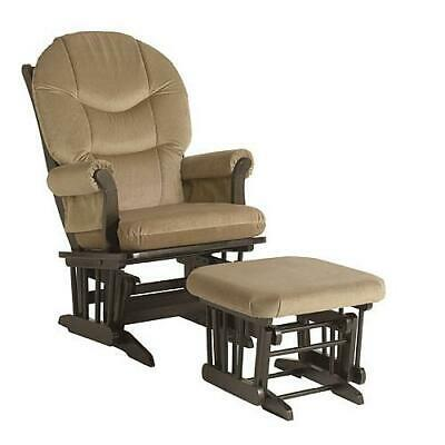 Dutailier Ultramotion Sleigh Glider and Ottoman combo - Espresso/Light brown