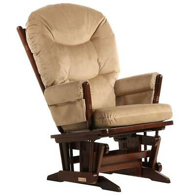 Dutailier Ultramotion- 2 Post Glider- Coffee Finish and Light Brown Fabric