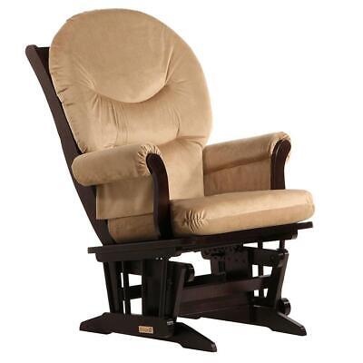 Dutailier Ultramotion- Sleigh Glider- Espresso Finish and Light Brown Fabric