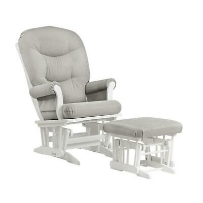 Dutailier Sleigh Glider and Ottoman Combo - White/Light Grey