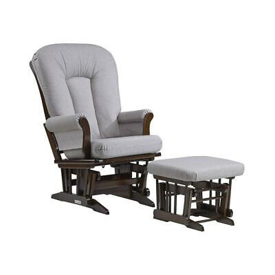 Dutailier Sleigh Glider and Ottoman Combo - Coffee/Pebble Grey