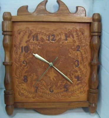"""Vintage Hand Tooled Leather and Wood Eagle Wall Clock 1950's 17"""" x 14"""" x 3.5"""""""