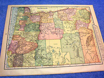 Antique Map Of Oregon W Railroads Mountain Ranges Nicely