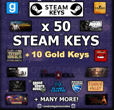 50x Random Steam Keys + 10x GOLD Games Key Bonus -Value  Up To 99$