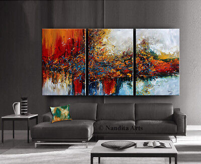 "Framed 72"" abstract artwork modern art original triptych wall art canvas Nandita"