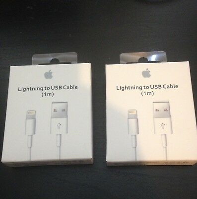 2 x Original Apple Lightning to USB Charger Cable for iPhone 6s/Plus/5/SE