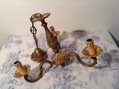 Vintage French 3 Arm Ornate Bronze Chandelier Ceiling Light (2089)