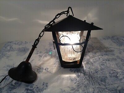Vintage French Hooded Lantern Wrought Iron Style Pendant Ceiling Light (3082)