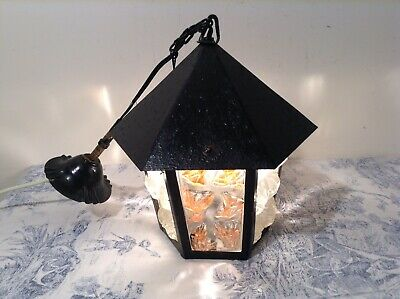 Vintage French Hooded Black Lantern Style Pendant Ceiling Light (3081)