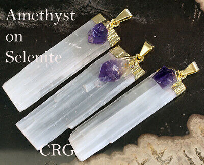 Gold Plated Selenite Crystal Blade with AMETHYST Point Pendant (PT30BT)
