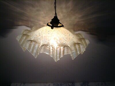 French Mid Century Vintage Cream Hanky Frill Shade Pendant Ceiling Light (2122)