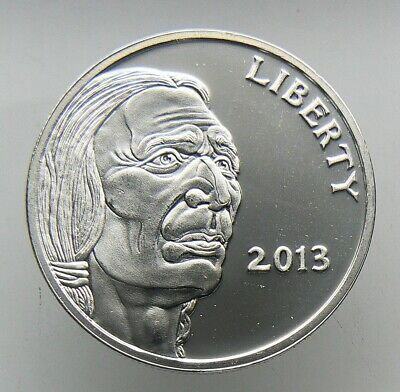 1 oz .999 FINE SILVER ROUND Liberty 2013 Indian Head Buffalo BU