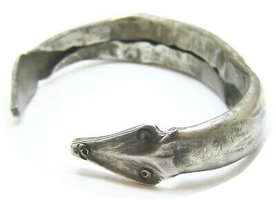 1st century B.C. Ancient Roman Thracian Silver Snake Bracelet Intact & Wearable
