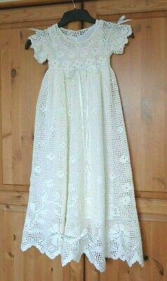 Beautiful Handmade Crocheted Ivory Christening Gown 3-6 Months