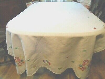 Vintage Large Linen Hand Made Embroidered  Tablecloth 52X92 Excellent Clean