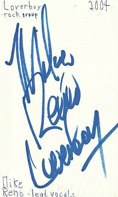 Mike Reno Lead Vocalist Loverboy Rock Band Music Signed Index Card JSA COA