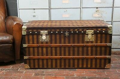 Exceptional French Brass Bound Antique Steamer Trunk