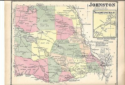 1870 Johnston, Ri. Map That Has Been Removed From The Beer's 1870 Atlas