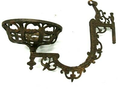Vintage Antique  Wall Sconce Ornate Cast Iron Oil Lamp Lantern Holder Only #1