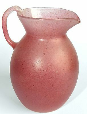 Vtg Antique 1960'S Roman Pink Frosted Glass Vase Pitcher Liquids Bottle HolyLand