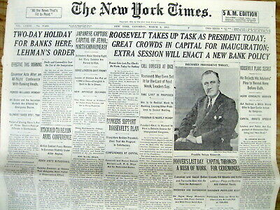 <1933 newspaper FRANKLIN D ROOSEVELT INAUGURATED PRESIDENT Great Depression