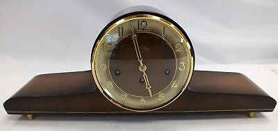 Large VINTAGE Mantle SOLAR Wooden , Brass & Glass Antique CLOCK - C27