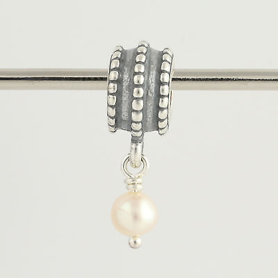 New Pandora Bead Charm - Sterling Silver 790132P Beveled White Pearl Retired
