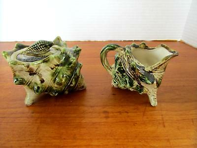 Vintage Florida Souvenir Green Sea Shell Cream and Sugar Bowl