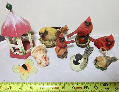 nice lot of bird figurines red cardinals turkey finches and a small wood gazebo