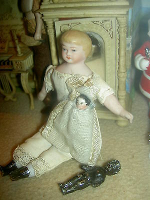 "Adorable 4 3/4"", antique bisque shoulderhead, dollhouse child doll with 2 babies"