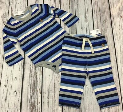 Baby Gap Boys 6-12 Months Outfit. Blue Striped Shirt & Pants. Nwt