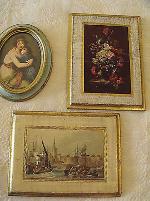 Vtg Lot 3 Italian Florentine Wood Wall Plaques Mother Child  Floral Still Life