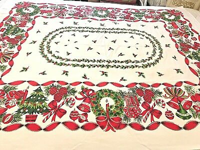 Vtg Christmas Table Cloth Wreaths Trees Shiny Brites Fruit Candy Bells 50x60 CC7